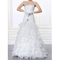 Sexy Beaded Rhinestone One Shoulder Organza Wedding Dresses with Tiered Skirt