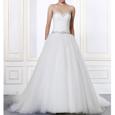 Affordable Custom Sweetheart Sweep Train Satin Chiffon Wedding Dresses