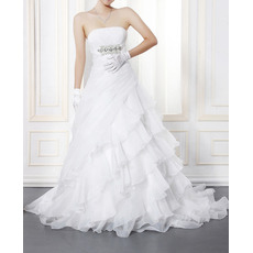 Romantic Strapless Ruched Bodice Organza Wedding Dresses with Breathtaking Layered Skirt
