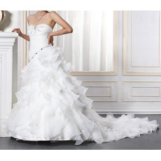 Inexpensive Sexy Sweetheart Chapel Train Satin Tiered Wedding Dresses