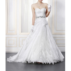 Stylish Taffeta Sweetheart Wedding Dresses with Rhinestone Waist