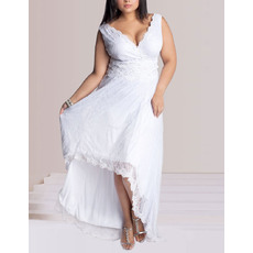 Elegant A-line V-Neck Asymmetric High-Low Lace Plus Size Wedding Dresses
