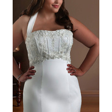 Unique Sexy Mermaid Halter Court Train Plus Size Satin Wedding Dresses with Beading Appliques