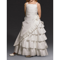 Dramatic A-Line Ruffled Spaghetti Straps Layered Skirt First Communion Flower Girl Dresses