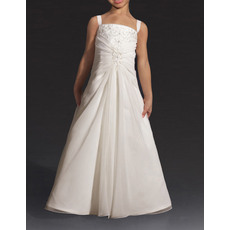 Fashionable A-Line Wide Straps Sleeveless Floor Length Ruched Chiffon Flower Girl Dresses with Beading