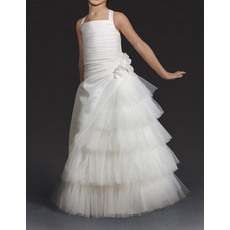 Beautiful Wide Straps Long Satin Tulle Ruffled Layered Skirt Flower Girl Dresses/Lovely Ivory First Communion Dresses
