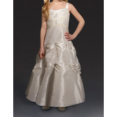 Fashionable A-Line Wide Straps Ankle Length Taffeta Pick-Up Flower Girl Dresses with Beaded Embroidery