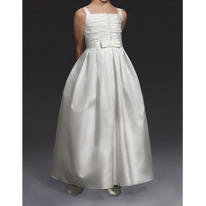 Unique Lovely Ball Gown Wide Straps Long Length Pleated Satin First Communion Flower Girl Dresses