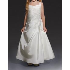 Pretty A-Line Wide Straps Long Length Beaded Appliques Satin Flower Girl/ Communion Dresses with Asymmetrical Waistline