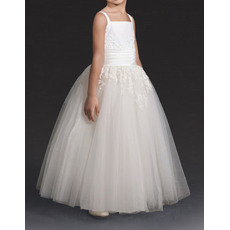 Online Affordable Ball Gown Wide Straps Satin Tulle Flower Girl/ Communion Dresses