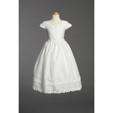 Custom Pretty Short Sleeves Organza Over Satin First Communion Flower Girl Dresses with Floral Appliques