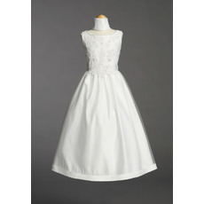 Discount Cute Ball Gown Bateau Neck Full Length Satin Tulle First Communion Dresses with Beaded Applique