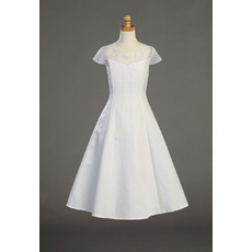 Perfect A-Line Illusion Neckline White Beaded Satin First Communion Flower Girl Dresses with Cap Sleeves