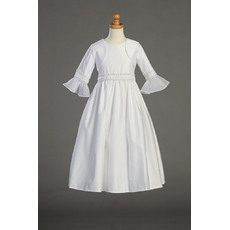 Enchanting A-line Beaded White Satin First Communion Flower Girl Dresses with Bell Sleeves Jacket