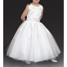 Luxury Beaded Appliques Ball Gown Round Ankle Length Satin Tulle White Flower Girl Communion Dresses