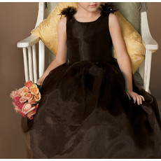 Discount Ball Gown V-back Full Length Organza Little Girls for Party/ Holiday Dresses with Bow