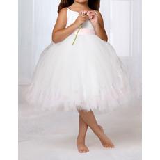 Cute Ball Gown Spaghetti Straps Knee Length Bubble Skirt Tulle Flower Girl Dresses