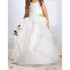 Lovely Ball Gown Round Layered Skirt Flower Girl Dresses with Hand-made Flowers/ Discount Organza First Communion Dresses