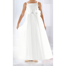 Inexpensive Ball Gown Spaghetti Straps Tulle Flower Girl Dresses/ White Pleated First Communion Dresses with Flower Waistband