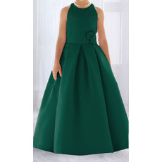 Affordable Lovely Ball Gown Round Full Length Pleated Satin Flower Girl/ Easter Dresses