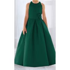 Affordable Lovely Ball Gown Round Full Length Pleated Satin Flower Girl/ Easter Dresses