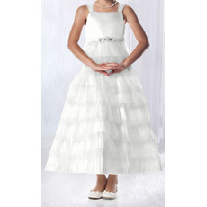 Inexpensive A-Line Wide Straps Tea Length Satin Layered Skirt Tulle White Flower Girl Dresses