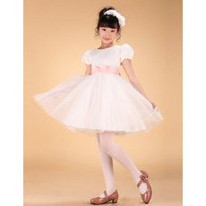 Custom-Made Affordable Ball Gown Bateau Mini Tulle Flower Girl Dress with Cap Sleeves and Sashes