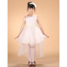 Perfect A-line Ruffles Spaghetti Straps High-Low Asymmetric Hem Whte First Communion/ Flower Girl Dresses