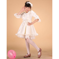 Inexpensive Bateau Short Satin Flower Girl Dresses for Less with 3/4 Long Bell Sleeves