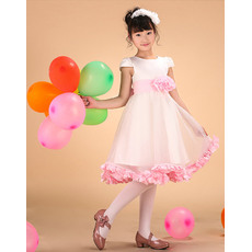 Inexpensive A-Line Round/ Scoop Neck Short Satin Flower Girl Dresses with Cap Sleeves and Handmade Flowers