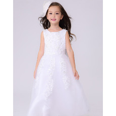 Discount A-Line Round Neck Full Length White Tull First Communion Dresses with Beaded Appliques