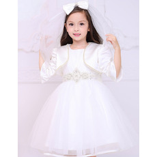 Lovely Ball Gown Bateau Short White First Communion Dresses with Satin Jackets and Beaded Crystal