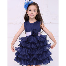 Pretty Ball Gown Round Neck Short Organza Ruffled Layered Skirt Flower Girl Dresses with Sashes and Hand-made Flowers