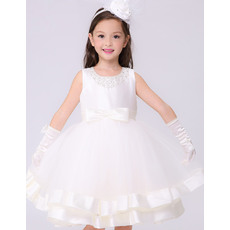 Stylish Ball Gown Beaded Round/ Scoop Sleeveless Short White First Holy Communion Dresses with Satin-trimmed