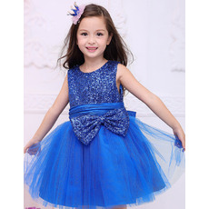 Pretty Blue Ball Gown Round neck Mini/ Short Sequin Satin Tulle Little Girls Holiday Dresses