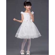 Lovely A-line Beaded Off-the-shoulder Short Satin Tulle White Little Girls Party Dresses with Bow
