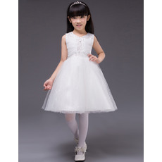 Lovely Ball Gown Beaded V-Neck Short Satin Tulle White Little Girls Party Dresses