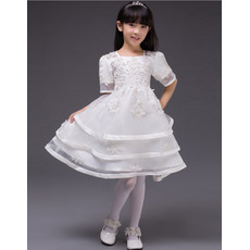 Pretty A-line Square Neck Layered Skirt Short White Little Girls Party Dresses with Short Sleeves and Appliques