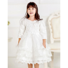 Beautiful Custom Ball Gown Sweetheart Layered Skirt Tulle First Communion Dresses with Long Sleeves and Beaded Appliques