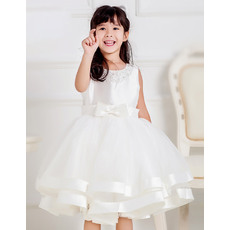 Beautiful Custom Ball Gown Beaded Round Neck Knee Length Satin Tulle First Communion Dresses