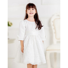 Affordable Ball Gown Round/ Scoop Knee Length Satin Lace First Communion Dresses with 3/4 Sleeves