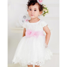 Lovely Ball Gown Round Neck Short Tulle Flower Girl Dresses with Sashes and Lace Appliques