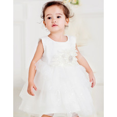 Lovely Ball Gown Round Empire Waist Bubble Skirt White Flower Girl Communion Dress