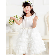 Pretty Ball Gown Round Short Lace Layered Skirt Flower Girl Communion Dress with Hand-made Flowers