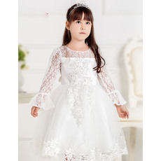 Pretty Custom Ball Gown Round/ Scoop Short First Communion Dresses with Long Lace Sleeves