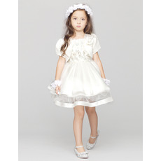 Affordable Ball Gown Short Satin Spaghetti Straps Tulle First Communion Dresses with Jackets and Crystal Detailing