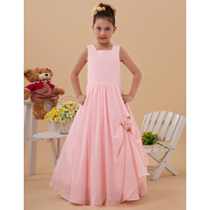 Inexpensive Simple A-Line Square Floor Length Chiffon Pink Full Length Long Flower Girl Dresses for Summer
