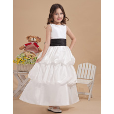 Cute Discount Ball Gown Scoop Neck Ankle Length Taffeta White First Communion Dresses with Layered Skirt