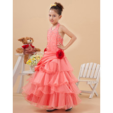 Luxury Beaded Crystal Ball Gown Halter Ankle Length Layered Skirt Organza Little Girls Party Dresses