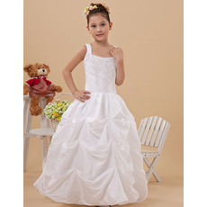 Discount Ball Gown Pick-Up Wide Straps Skirt Taffeta Full Length White First Communion Dresses with Beaded